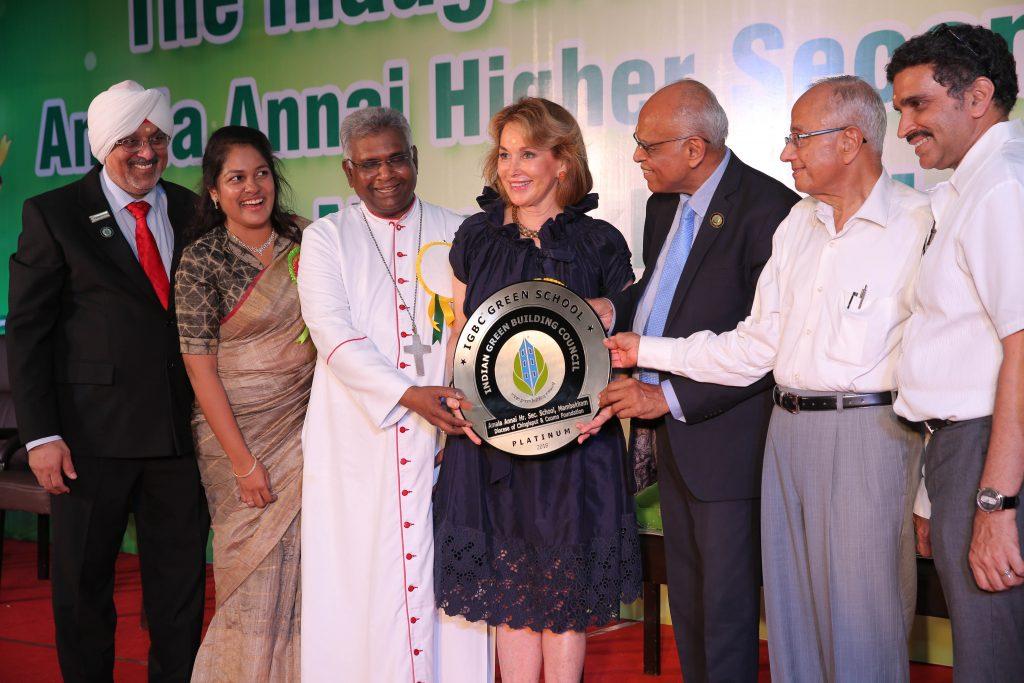 Inauguration de l'école vertes de Mambakkam (Inde) construite avec le financement de la Fondation Cu