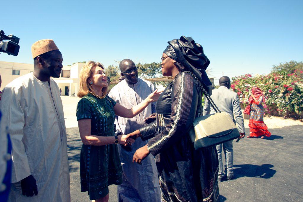 Mme Maria Elena Cuomo accueillant Madame Marème Faye Sall, la Première Dame du Sénégal lors de l'ina
